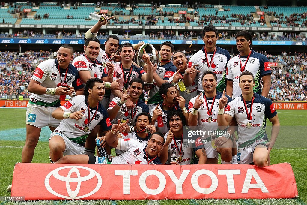 The Warriors celebrate after winning the 2011 Toyota Cup Grand Final match between the Warriors and the North Queensland Cowboys at ANZ Stadium on October 2, 2011 in Sydney, Australia.