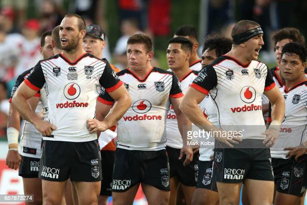 The Warriors looks dejected after a Dragons try during the round four NRL match between the St George Illawarra Dragons and the New Zealand Warriors...