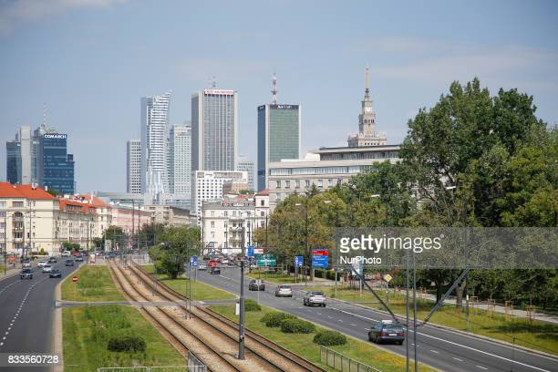 The Warsaw skyline is seen on 5 August 2017 from the Independence Avenue