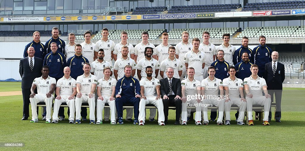 The Warwickshire first team squad pose in a team photograph at the photocall held at Edgbaston on April 9 2015 in Birmingham England