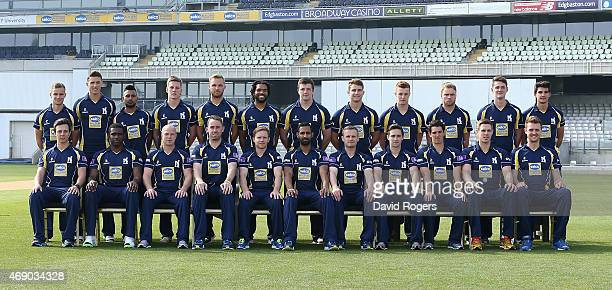 The Warwickshire first team squad pose in their One Day colours at the photocall held at Edgbaston on April 9 2015 in Birmingham England