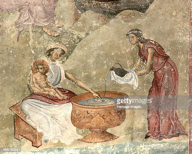 The washing of the child in the nativity scene c 12601270 Artist Anonymous