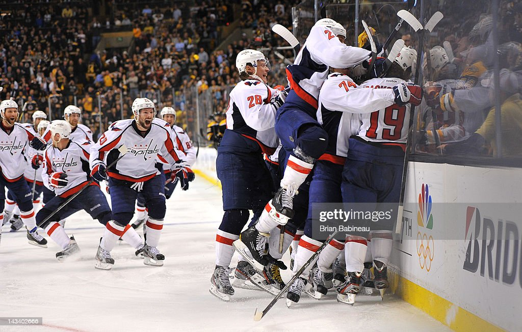 The Washington Capitals beat the Boston Bruins in Game Seven of the Eastern Conference Quarterfinals during the 2012 NHL Stanley Cup Playoffs at TD Garden on April 25, 2012 in Boston, Massachusetts.