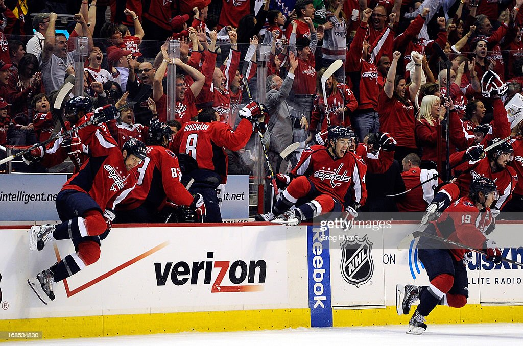 The Washington Capitals bench celebrates after Mike Ribeiro #9 (not pictured) scored the game-winning goal in overtime against the New York Rangers in Game Five of the Eastern Conference Quarterfinals during the 2013 NHL Stanley Cup Playoffs at the Verizon Center on May 10, 2013 in Washington, DC. Washington won 2-1.