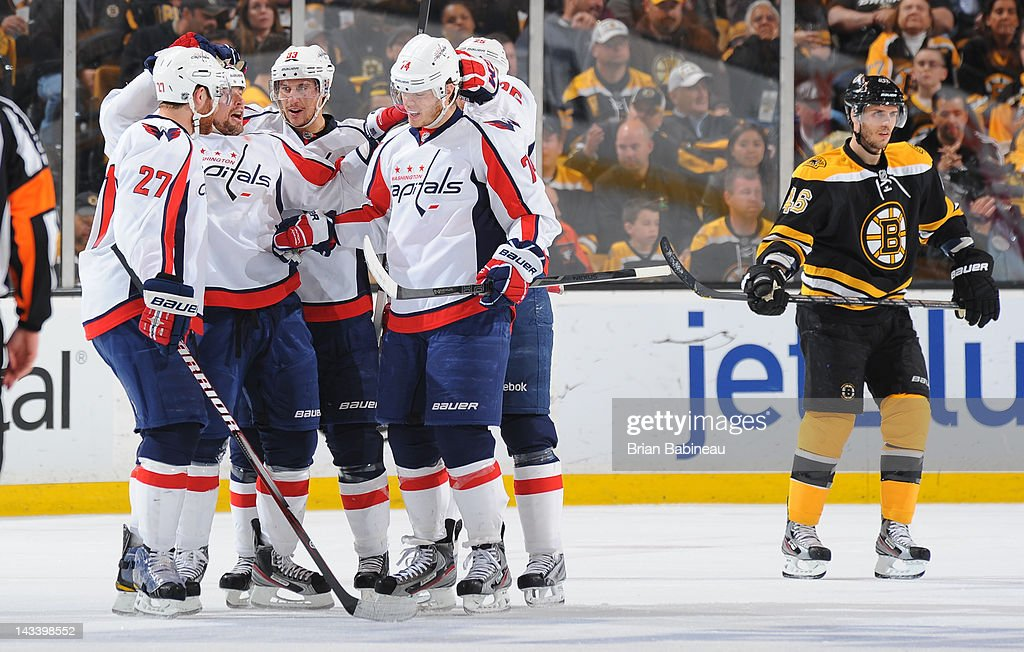 The Washington Capitals celebrate a goal against the Boston Bruins in Game Seven of the Eastern Conference Quarterfinals during the 2012 NHL Stanley Cup Playoffs at TD Garden on April 25, 2012 in Boston, Massachusetts.