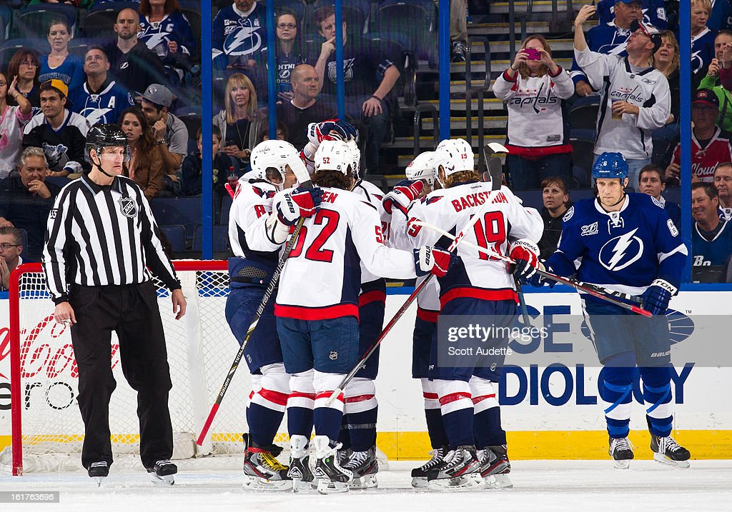 The Washington Capitals celebrate after scoring during the first period of the game against the Tampa Bay Lightning at the Tampa Bay Times Forum on February 14, 2013 in Tampa, Florida.