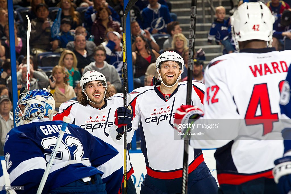 The Washington Capitals celebrate after scoring during the second period of the game at the Tampa Bay Times Forum on February 14, 2013 in Tampa, Florida.