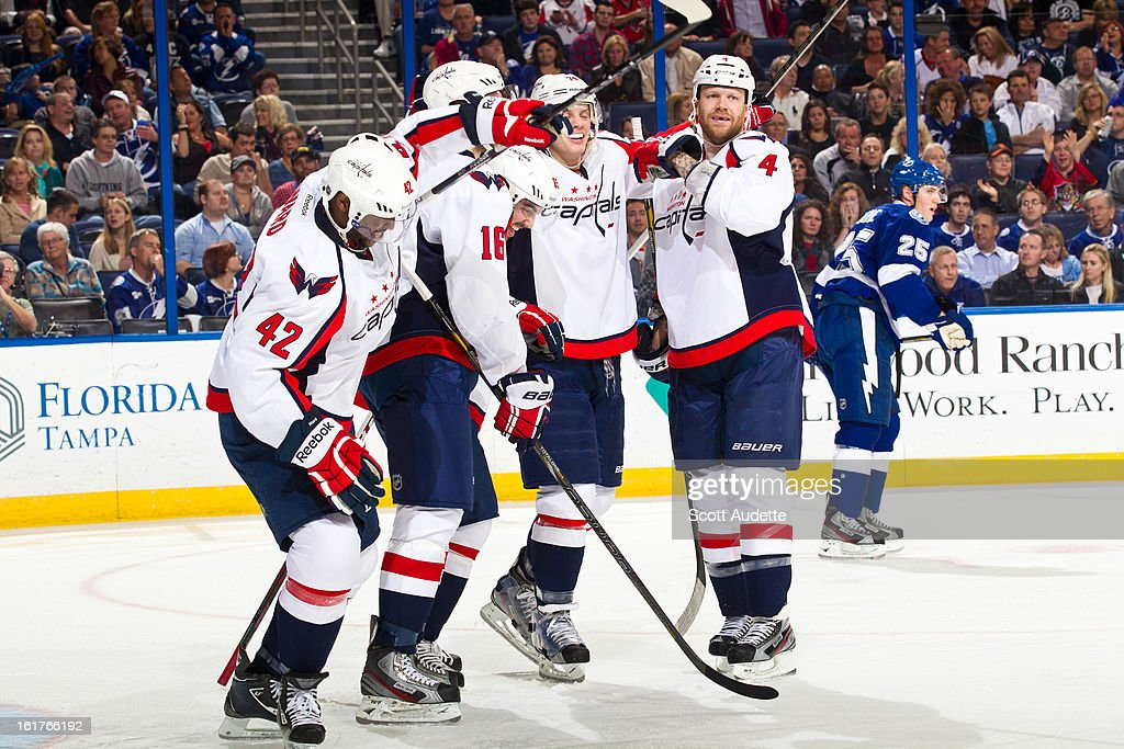 The Washington Capitals celebrate after scoring during the second period of the game against the Tampa Bay Lightning at the Tampa Bay Times Forum on February 14, 2013 in Tampa, Florida.