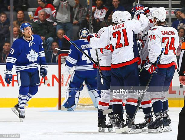 The Washington Capitals celebrate Eric Fehr goal against the Toronto Maple Leafsduring game action on January 7 2015 at Air Canada Centre in Toronto...