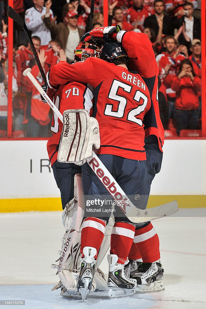 The Washington Capitals celebrate their win of Game Six of the Eastern Conference Semifinals against the New York Rangers during the 2012 NHL Stanley Cup Playoffs at Verizon Center on May 9, 2012 in Washington, DC.