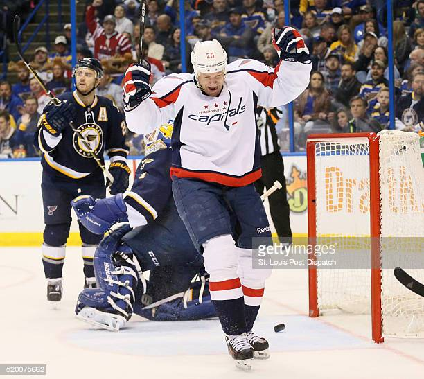 The Washington Capitals' Jason Chimera reacts after scoring past St Louis Blues goaltender Brian Elliott in the second period on Saturday April 9 at...