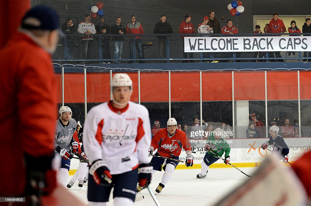 The Washington Capitals warm up before the Washington Capitals' first official practice of the season on Sunday, January 13, 2013.