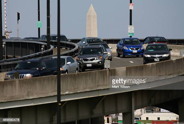 The Washington Monument can be seen as traffic travels over the Frederick Douglass Memorial Bridge also known as the South Capitol Street bridge...