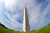 The Washington Monument is seen through a wide angle lens May 12 2014 in Washington DC The Washington Monument one of the US capital's most...