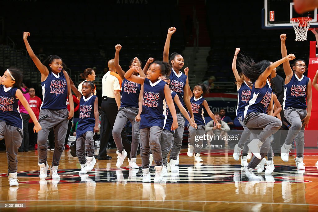 The Washington Mystics dance team performs at halftime during the game against the San Antonio Stars on June 29, 2016 at the Verizon Center in Washington, DC.