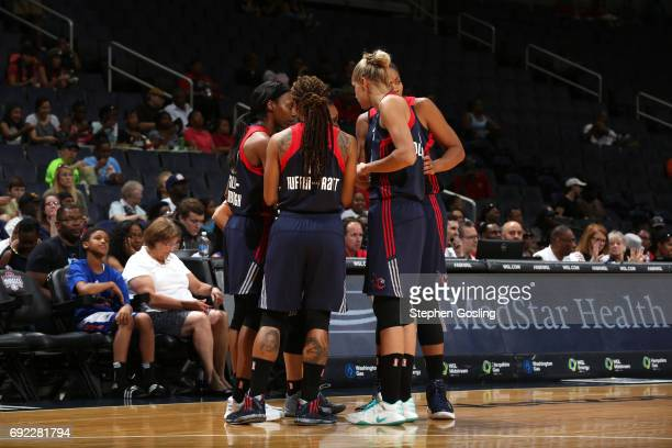The Washington Mystics huddle during the game against the Atlanta Dream on June 4 2017 at Verizon Center in Washington DC NOTE TO USER User expressly...