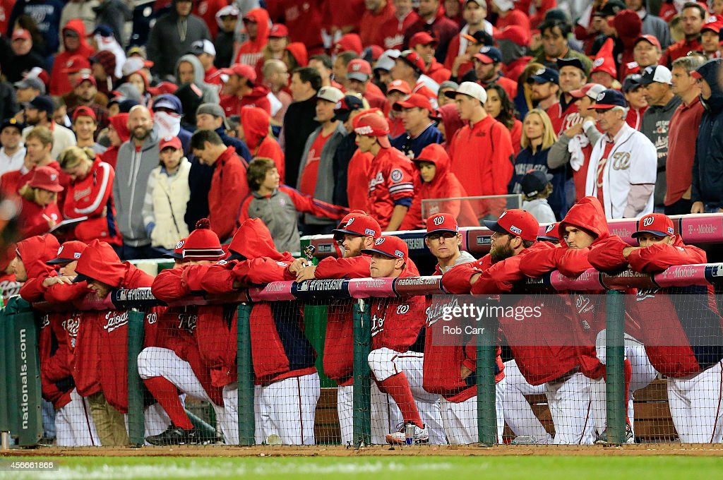 The Washington Nationals bench watches the eighteenth inning against the San Francisco Giants during Game Two of the National League Division Series at Nationals Park on October 4, 2014 in Washington, DC.