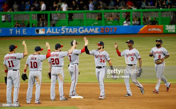 The Washington Nationals celebrate after a 123 win against the Miami Marlins at Marlins Park in Miami on Tuesday June 20 2017