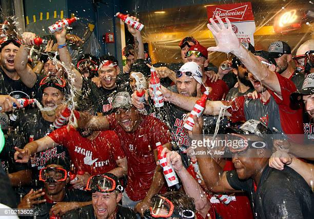 The Washington Nationals celebrate after clinching the National League East Division Championship after defeating the Pittsburgh Pirates 61 at PNC...