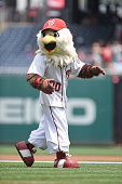 The Washington Nationals mascot Screech on the field before a baseball game against the San Diego Padres at Nationals Park on July 24 2016 in...