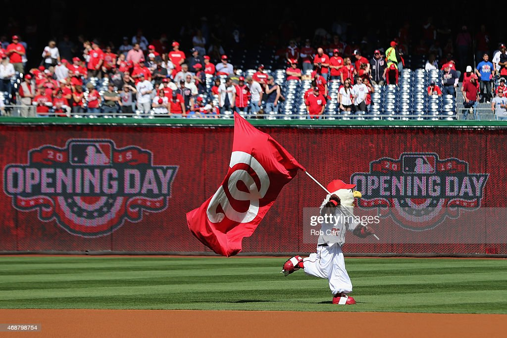 The Washington Nationals mascot Screech takes the field before the start of the Nationals game against the New York Mets during Opening Day at Nationals Park on April 6, 2015 in Washington, DC.