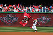 The Washington Nationals mascot Screech takes the field before the start of the Nationals game against the New York Mets during Opening Day at...