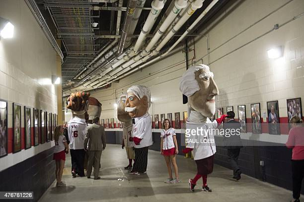 The Washington National's Racing Presidents walk through a tunnel after US President Barack Obama attended the annual Congressional Baseball Game...