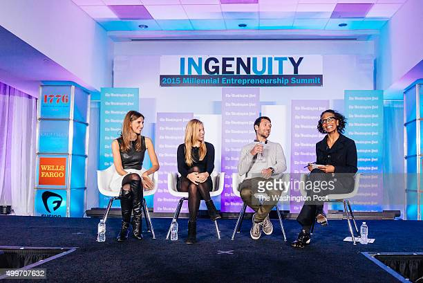 WASHINGTON DC The Washington Post via Getty Images's Robin Givhan right discusses building a brand with Danielle Weisberg Carly Zakin of TheSkimm and...