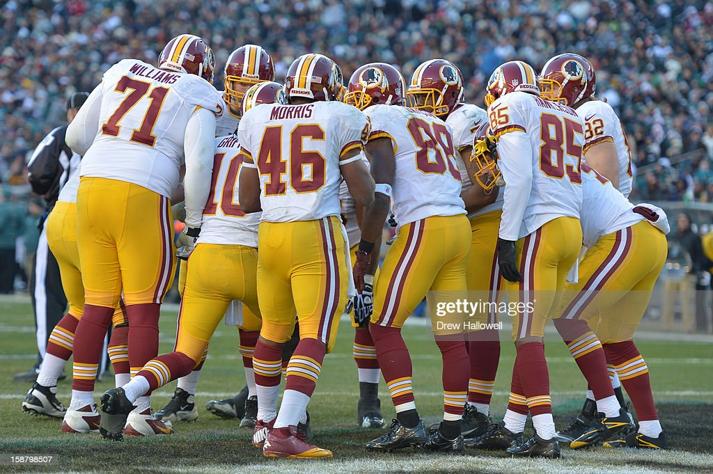 The Washington Redskins huddle during the game against the Philadelphia Eagles at Lincoln Financial Field on December 23, 2012 in Philadelphia, Pennsylvania. The Redskins won 27-20.