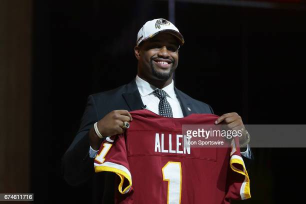 The Washington Redskins select Jonathan Allen from Alabama with the 17th pick at the 2017 NFL Draft at the NFL Draft Theater on April 27 2017 in...