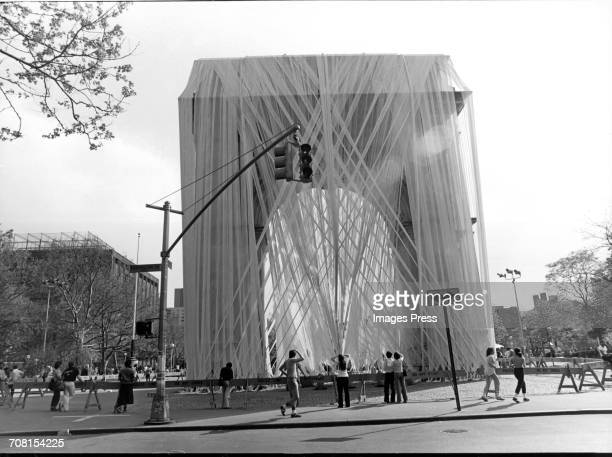 The Washington Square Arch is wrapped by artist Francis Hines New York City circa 1980