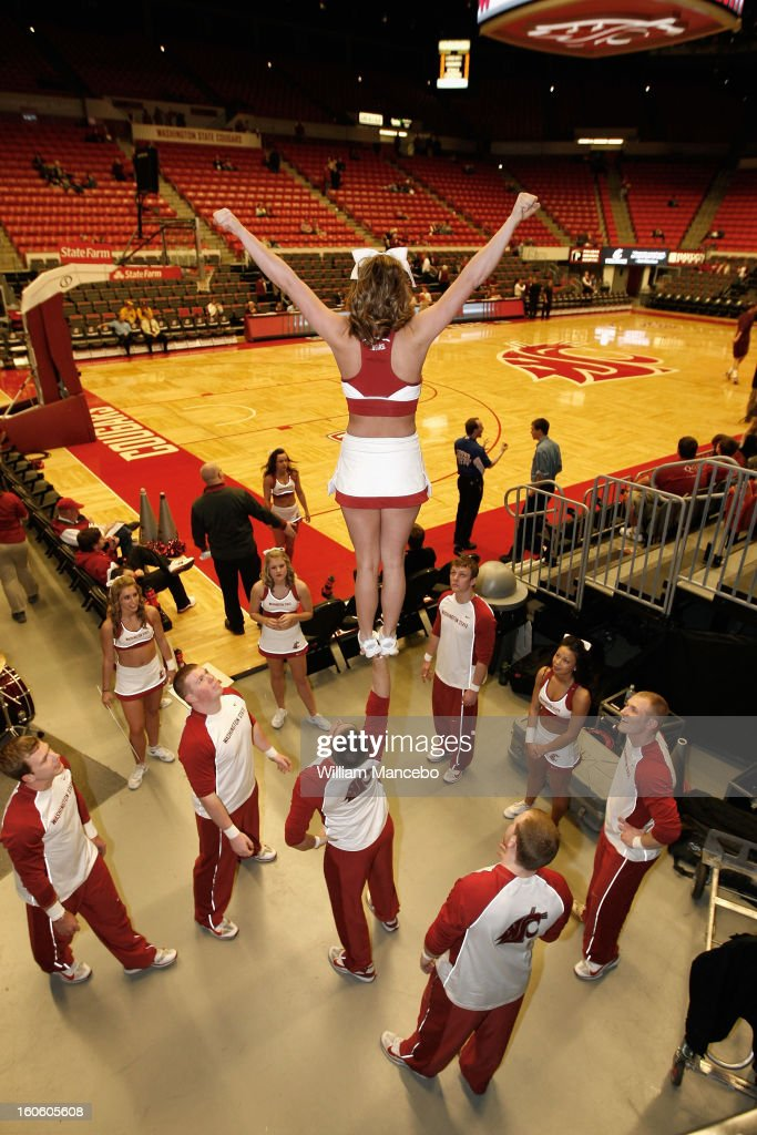 The Washington State Cougars cheer squad warms up prior to the game against the Arizona State Sun Devils at Beasley Coliseum on January 31, 2013 in Pullman, Washington.