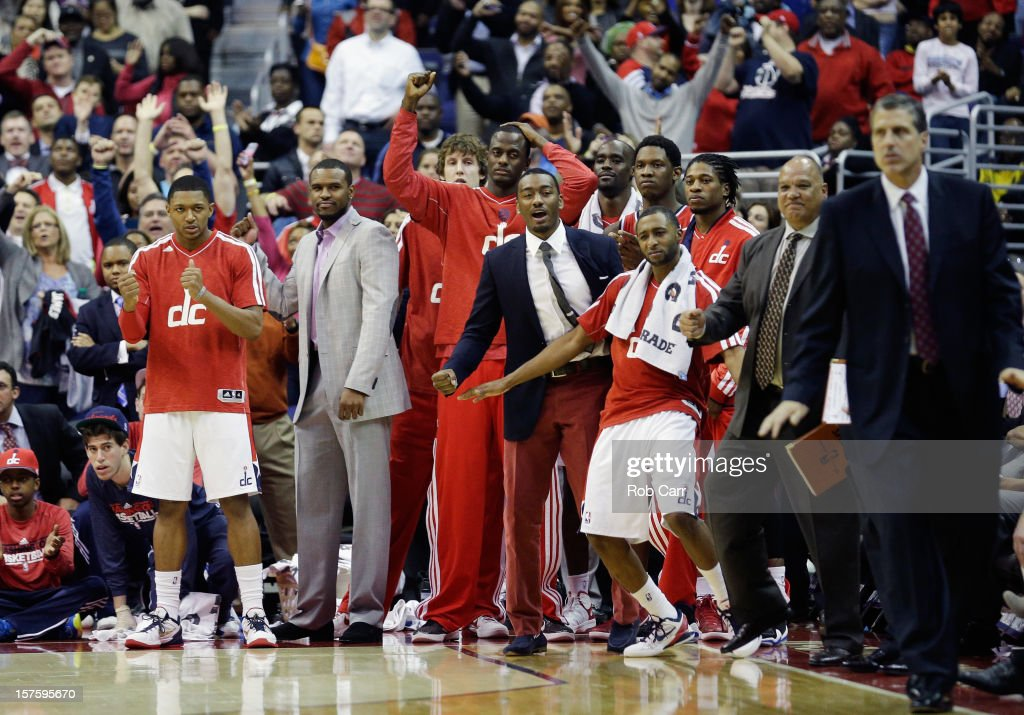 The Washington Wizards bench celebrates during the closing moments of their 105-101 win over the Miami Heat at Verizon Center on December 4, 2012 in Washington, DC.