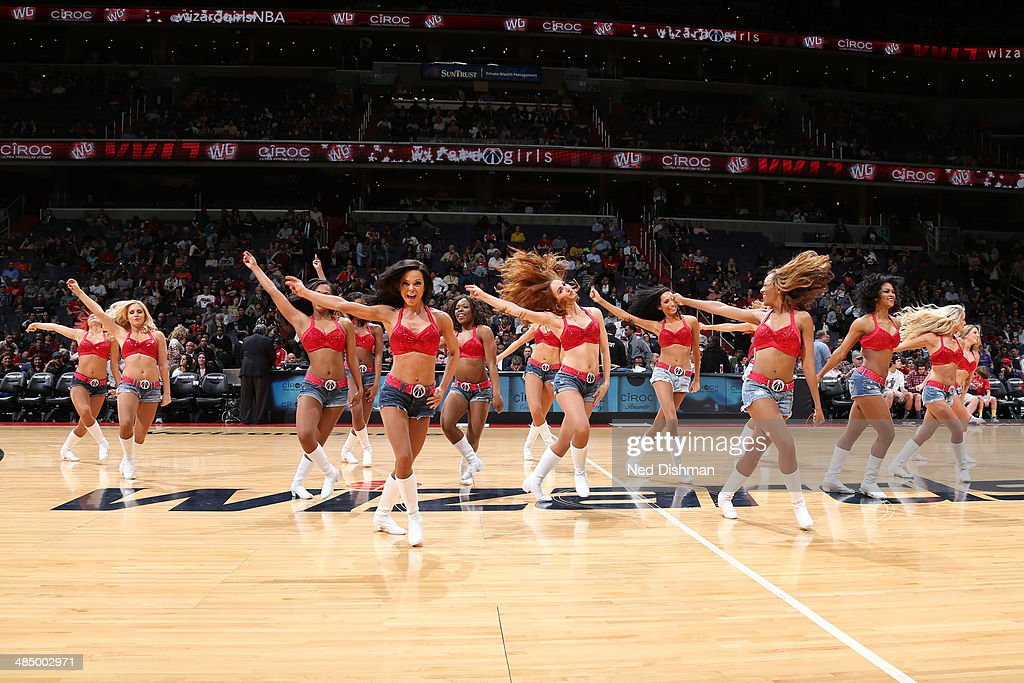 The Washington Wizards dance team performs during a game against the Charlotte Bobcats at the Verizon Center on April 9, 2014 in Washington, DC.