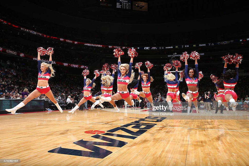 The Washington Wizards dance team performs during the game against the New Orleans Pelicans at the Verizon Center on February 22, 2014 in Washington, DC.
