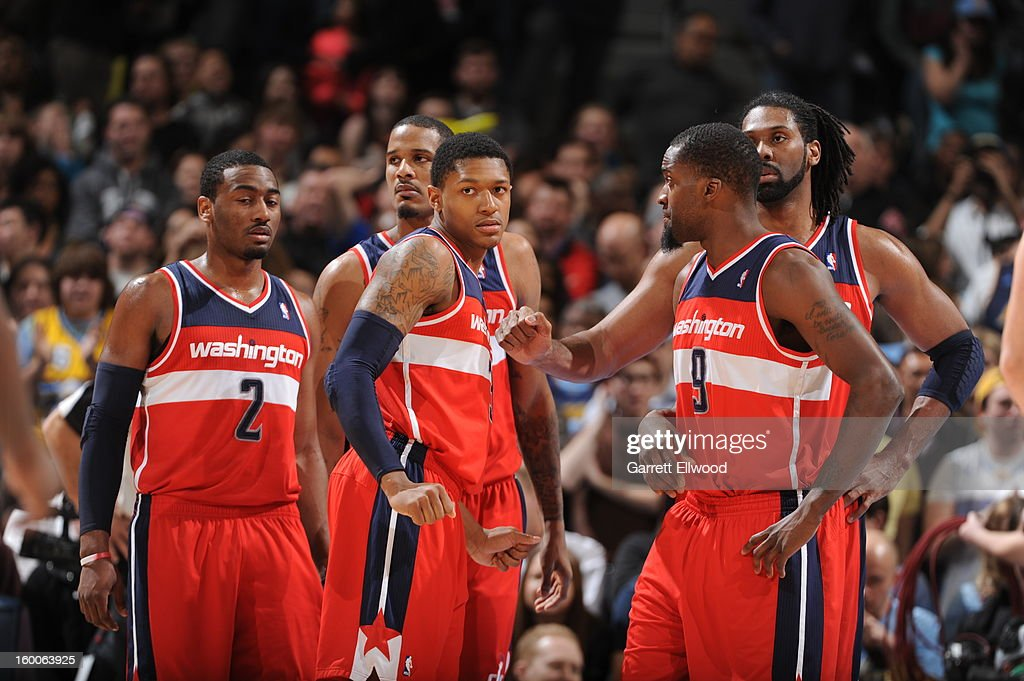 The Washington Wizards during the game against the Denver Nuggets on January 18, 2013 at the Pepsi Center in Denver, Colorado.