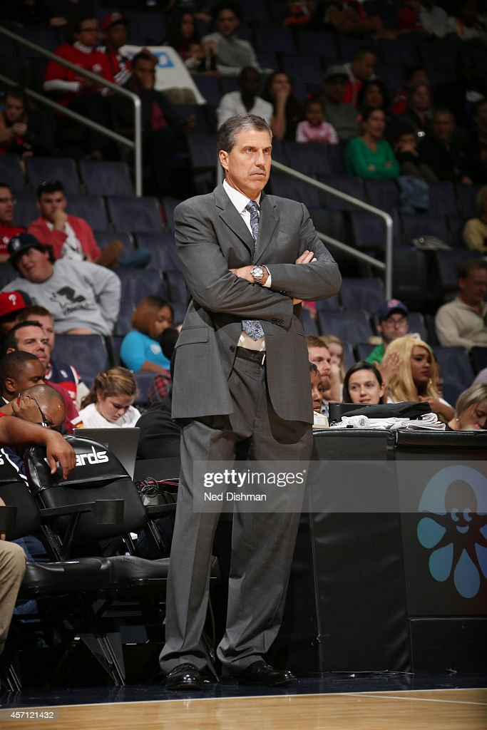 The Washington Wizards head coach Randy Wittman watches the game from the sidelines during the game against Detroit Pistons on October 12 2014 at...