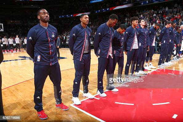 The Washington Wizards honor the National Anthem before the game against the San Antonio Spurs on November 26 2016 at Verizon Center in Washington DC...