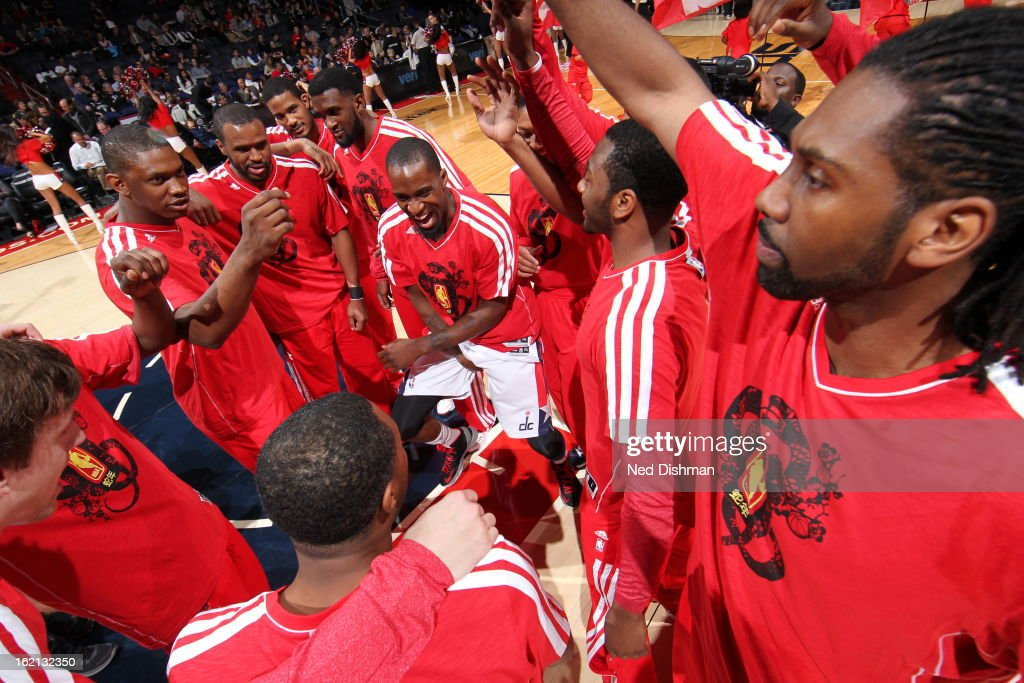 The Washington Wizards huddle before the game against the Brooklyn Nets on February 8, 2013 at the Verizon Center in Washington, DC.