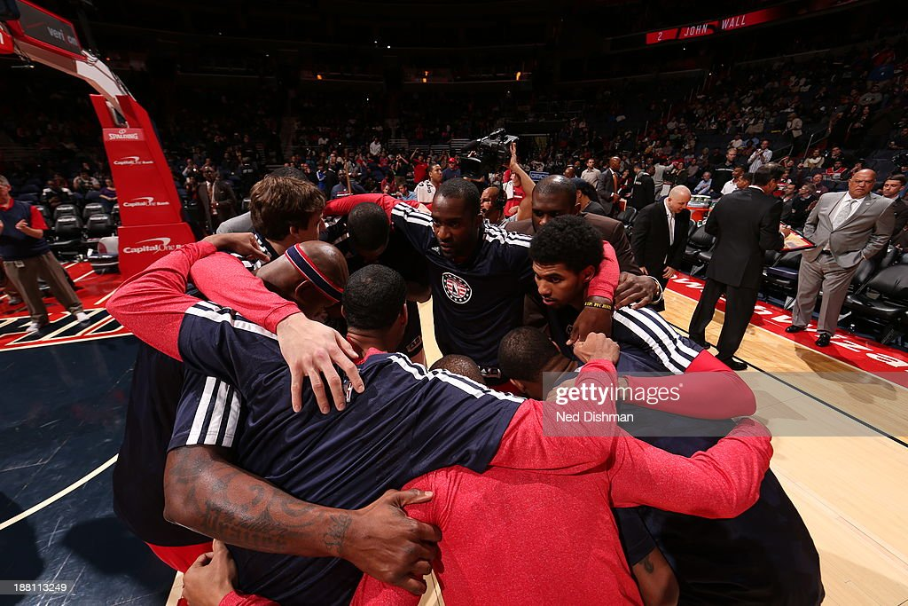 The Washington Wizards huddle before the game against the Brooklyn Nets at the Verizon Center on November 8, 2013 in Washington, DC.