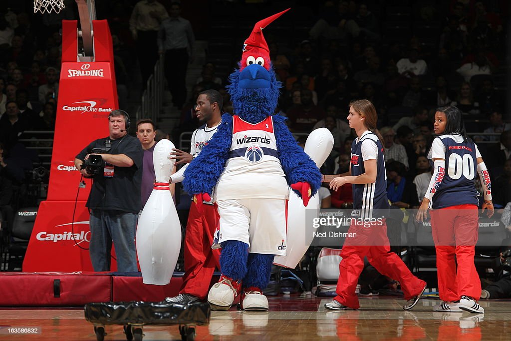 The Washington Wizards mascot, 'G-Wiz,' performs during halftime in a game against the Detroit Pistons at the Verizon Center on February 27, 2013 in Washington, DC.