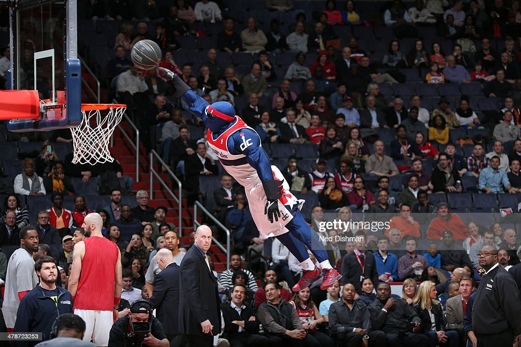 The Washington Wizards mascot performs at halftime during the game against the Utah Jazz at the Verizon Center on March 5, 2014 in Washington, DC.