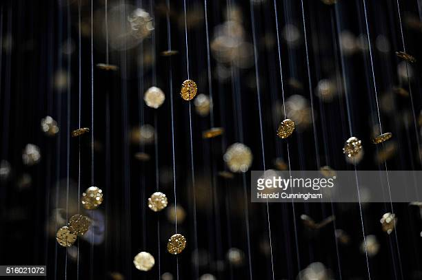 The watch movements 'Horizontal Time' installation by Tsuyoshi Tane at the Seiko booth is displayed during Baselworld on March 16 2016 in Basel...