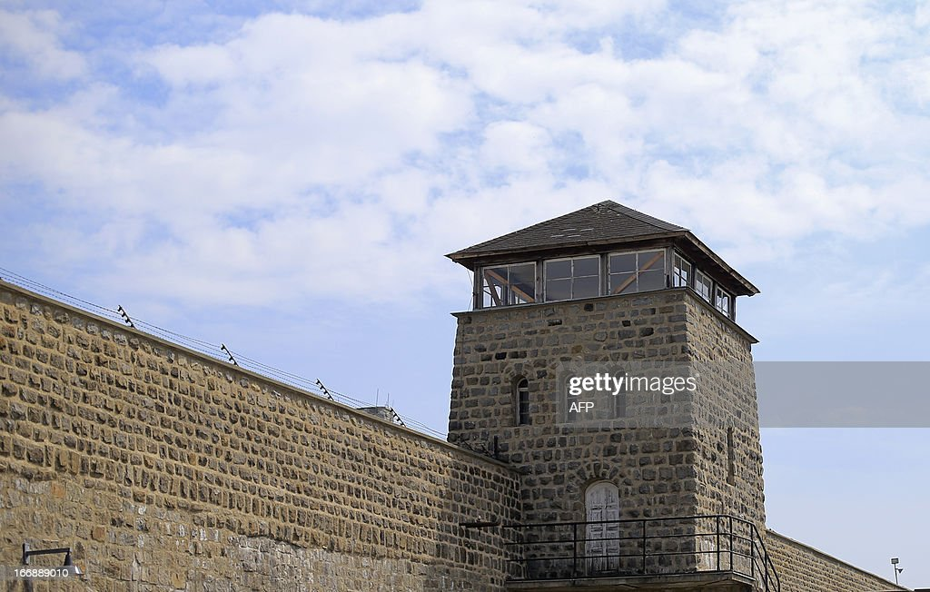 The watch tower at the entrance of the World War II concentration camp of Mauthausen is seen, on April 17, 2013.