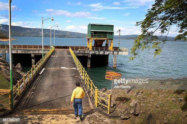The water intake structure is seen on a lake near the hydroelectric plant run by the Costa Rican Electricity Institute as the power company has...