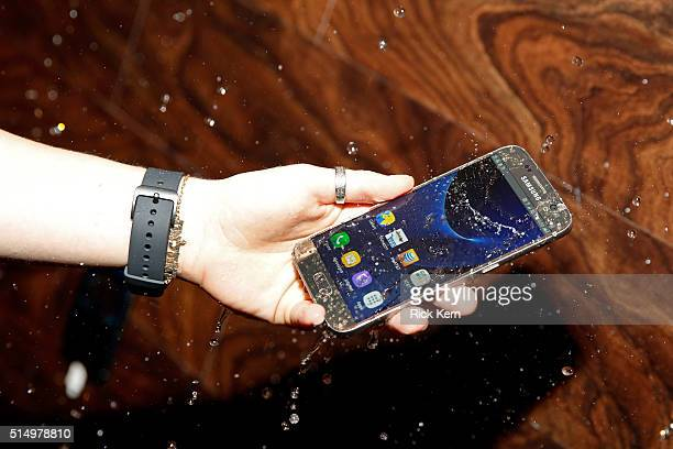 The water resistant Samsung Galaxy S7 is seen at The Samsung Studio at SXSW 2016 on March 11 2016 in Austin Texas