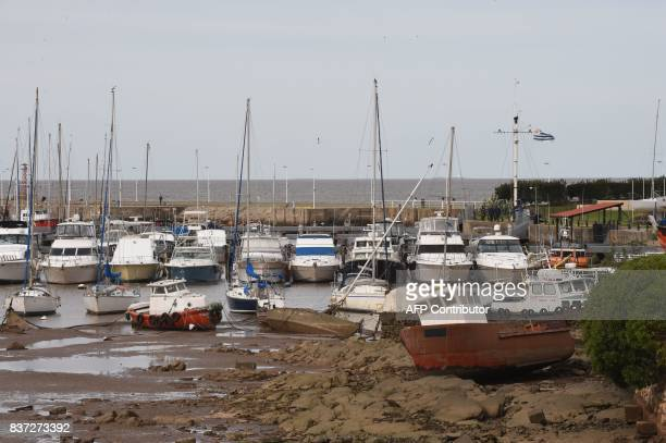 The water suddenly receded dramatically along the River Plate coast in Montevideo Uruguay on August 22 leaving boats stranded in the Buceo port The...