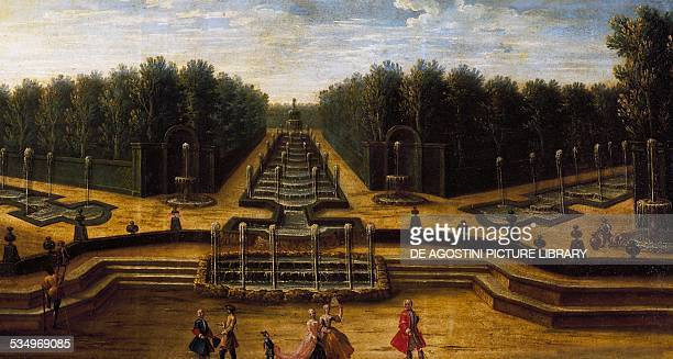 The Water theatre Garden of the Palace of Versailles painting by the French school detail France 17th century Versailles Château De Versailles