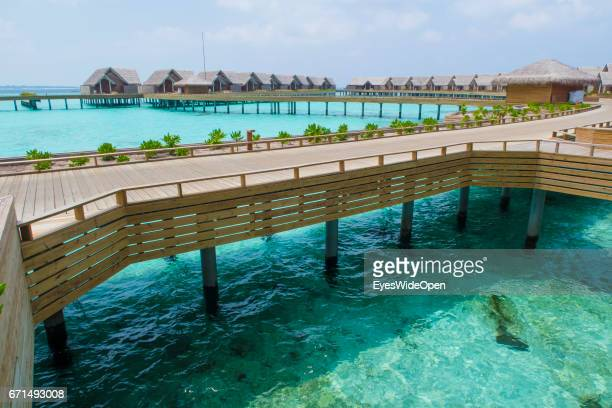 The Water Villas and cristal clear turquois Ocean at Milaidhoo Island BaaAtoll on February 21 2017 in Male Maldives