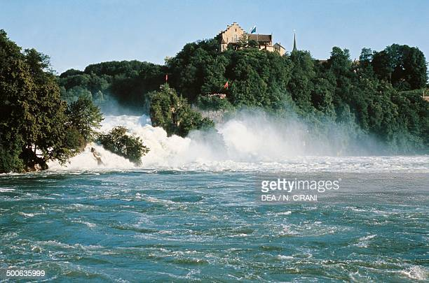 The waterfalls on the Rhine river at Schaffhausen Switzerland